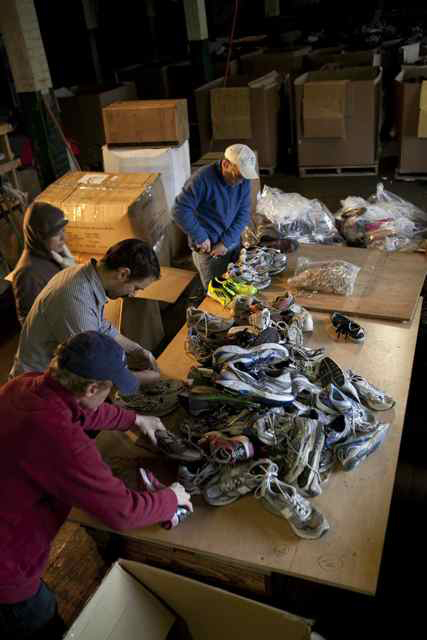 photo of sorting shoes for recycling