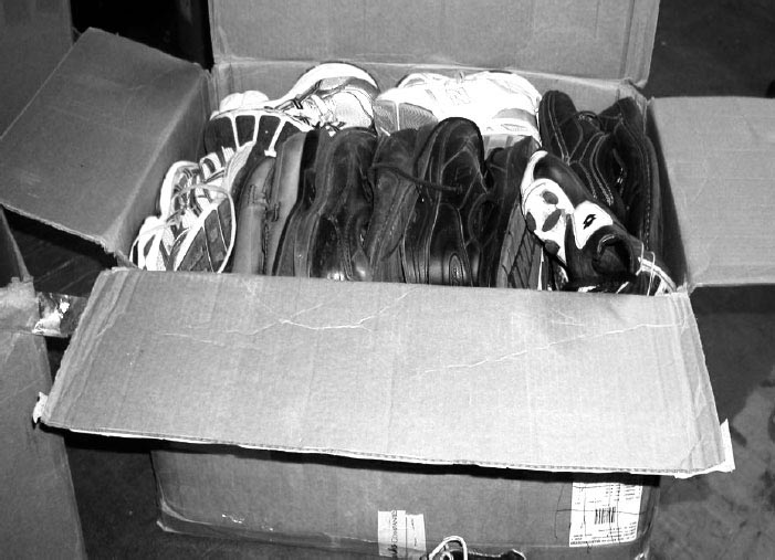 Photo of box of packed shoes