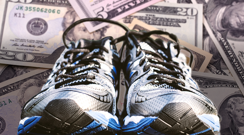 image of new running shoes with money background
